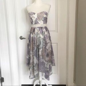 Badgley Mischka | Floral Print Strapless Dress 4